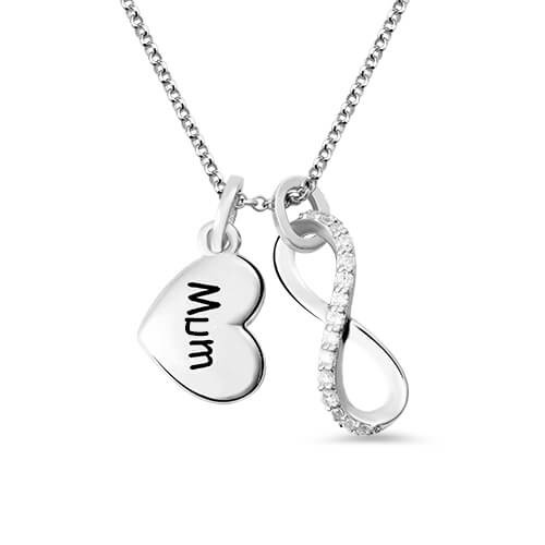 Custom Engraved Infinity Love Necklace Sterling Silver