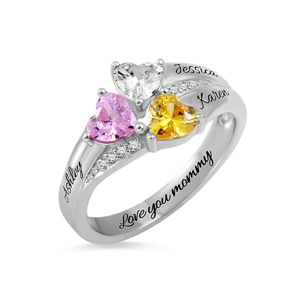 Custom Heart Birthstone Engraved Ring Sterling Silver