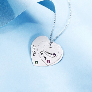 Triple Heart Necklace With Birthstones Sterling Silver